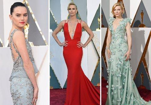 GLAMOUR: Nykommer Daisy Ridley kjempet med veteranene Charlize Théron og Cate Blanchett om oppmerksomheten på den røde løperen under årets Oscar-utdeling.