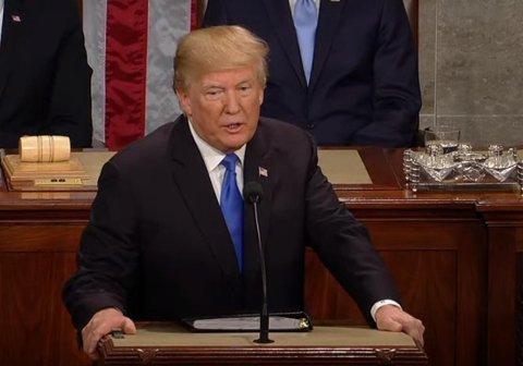 Donald Trump under State of the Union-talen natt til 31. januar 2018.