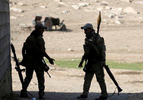 Irakiske spesialstyrker i Karamah sør for Mosul.