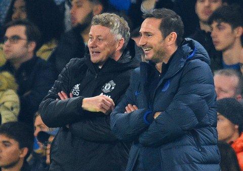 LYSTIG LAG: Ole Gunnar Solskjær i Manchester United og Chelsea-kollega Frank Lampard ser ut til å være managerne med størst muligheter på overgangsmarkedet.