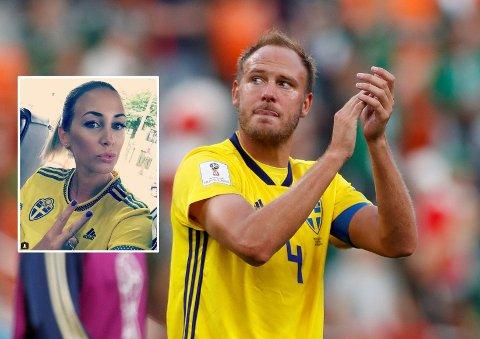 HYLLES: Kona Sofie (innfelt) har termin når Sverige-kaptein Andreas Granqvist spiller åttedelsfinale mot Sveits. Men hun ber ham bli værende i VM i Russland, og hylles av fotballfans over hele Sverige.