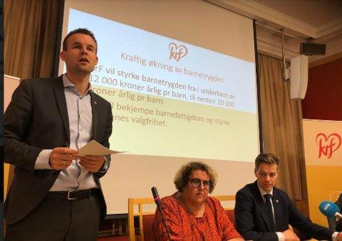 Nestleder Kjell Ingolf Ropstad presenterte KrFs forslag til ny barnetrygd.