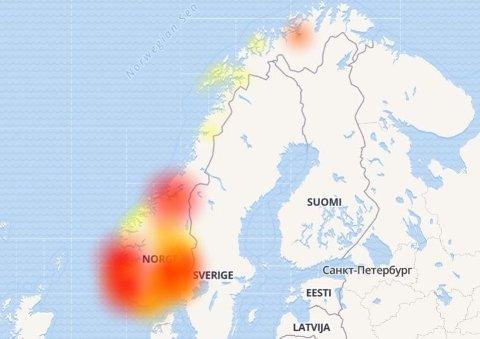 Nettstedet Downdetectors oversikt over Telenor-brudd de siste 24 timene viser at problemene fordeler seg over store deler av landet.