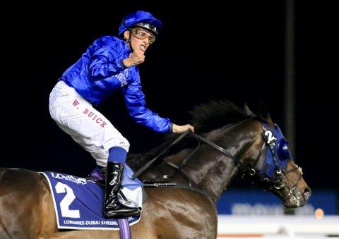 William Buick vant tre løp på Meydan-banen i Dubai torsdag. Foto: Erika Rasmussen, Equus / NTB scanpix