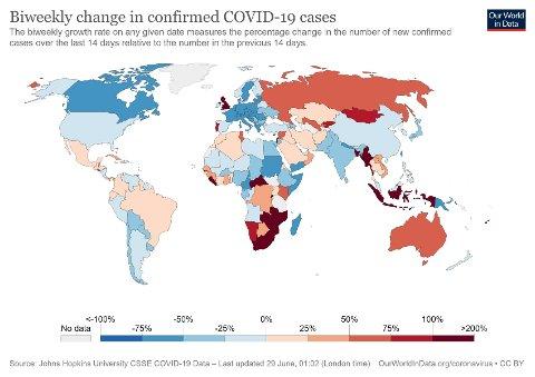 ENDRINGER FRA UKE TIL UKE: Landene som er farget rødt har den største prosentvise økningen i antallet nye smittetilfeller de siste 14 dagene sammenlignet med forrige 14-dagersperiode.