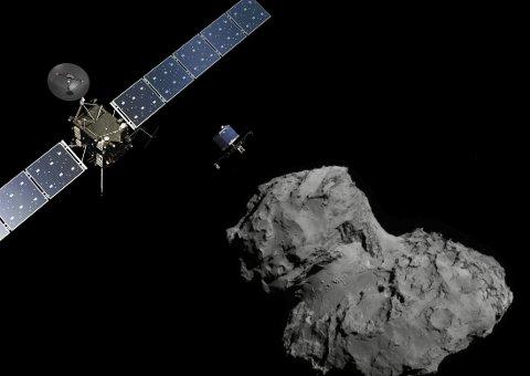 FOR FØRSTE GANG: Onsdag skal fartøyet Philae forsøke å lande på denne kometen.