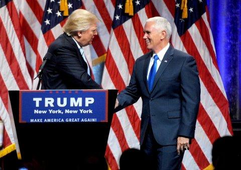 DONALD TRUMP valgte Mike Pence (til høyre) som sin visepresidentkandidat, til tross for at han allerede var trygg på å vinne Pences delstat Indiana.