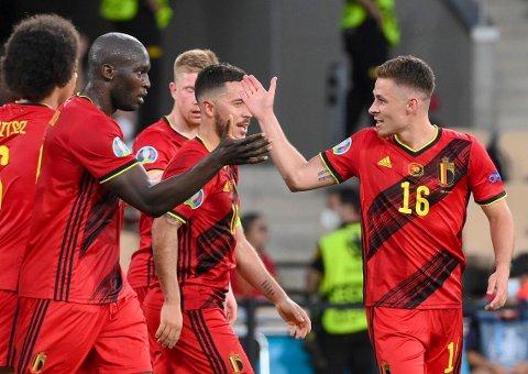 KAN FEIRE: Belgia kan juble for kvartfinaleplass i EM. Thorgan Hazard ble den store helten.