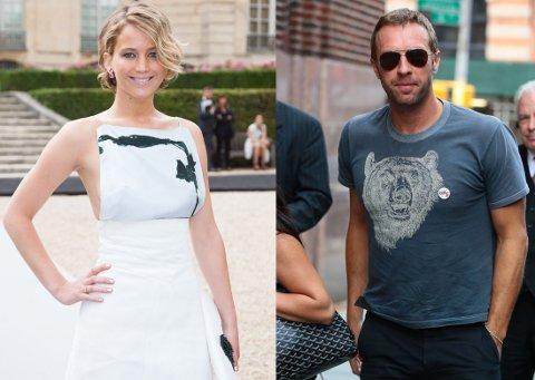 DATER: Jennifer Lawrence og Chris Martin har datet i flere måneder, melder flere amerikanske medier. Foto: All Over Press
