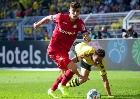 SALGSOBJEKT: Bayer Leverkusen-profil og Tysklands landslagspiller Kai Havertz. Her i duell med Thomas Delaney.