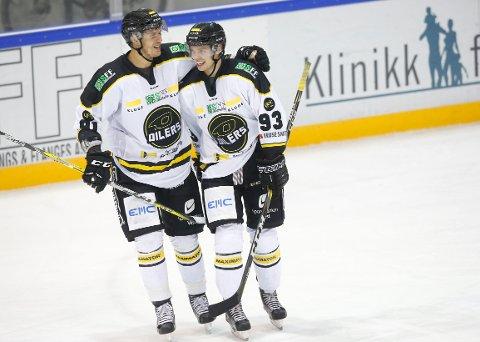 MÅLSULTNE KARER: Tommy Kristiansen (til venstre ) og Markus Søberg scoret nye mål mot Lørenskog og deler statusen som Getligaens mestscorende med åtte fulltreffere hver.
