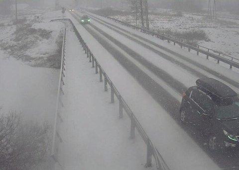 Tett snødrev på E6 ved Åkersvika mellom Hamar og Stange lørdag ettermiddag.