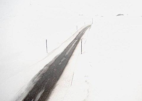 UVÆR: Det var kolonnekjøring og delvis stengt vei over Vikafjellet fredag på grunn av uvær.