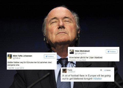 DET BLE EN ENORM JUBEL på Twitter etter at Sepp Blatter annonserte sin avgang.