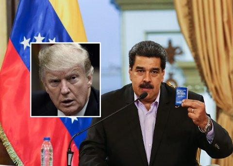 BER OM VÅPENSTØTTE: Avhoppere i Venezuelas militære styrker ber USAs president Donald Trump (innfelt) om våpenstøtte for å fjerne Venezuelas president Nicolás Maduro (bildet) fra makten.