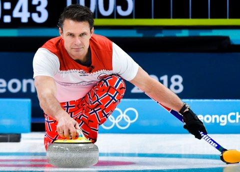 Norge med seier mot Tyskland i Curling-EM. Her under curlingkampen mellom Norge og Sverige under OL i Pyeongchang. Foto: Jonas Ekströmer / TT / NTB scanpix