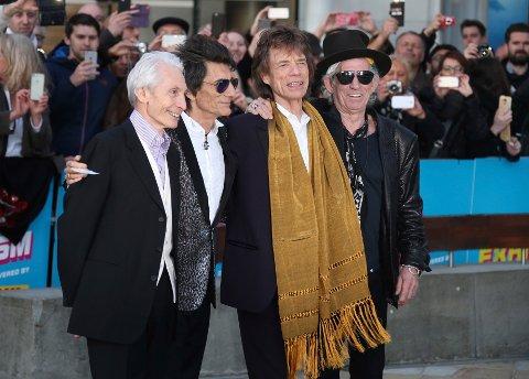 The Rolling Stones, fra venstre, Charlie Watts, Ronnie Wood, Mick Jagger og Keith Richards, er med på lørdagens støttekonsert. Arkivfoto: Joel Ryan / Invision /AP / NTB scanpix