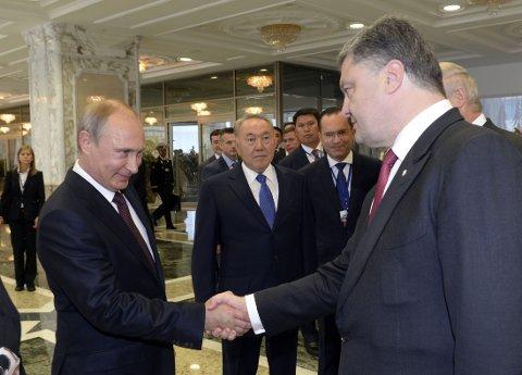 Russlands president Vladimir Putin og den ukrainske presidenten Petro Porosjenko møtte hverandre i Minsk i forrige uke.