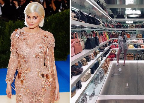 MILLIONER AV KRONER I GARDEROBEN: Kylie Jenner har en respektabel veskesamling til en svært respektabel sum.
