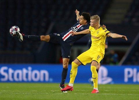 TOMT: Midtstopper Marquinhos og Paris Saint-Germain hadde stort sett god kontroll på Borussia Dortmund. På et nesten folketomt stadion uteble også de store mulighetene for Erling Braut Haaland og kompani.