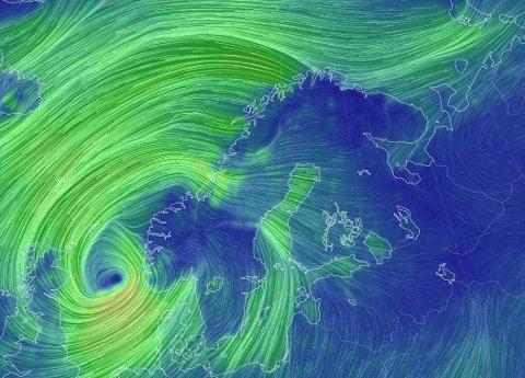 EKSTREMVÆR: Ekstremværet som har fått navnet Frank slår innover Norge torsdag. Skjermdump: Earth map