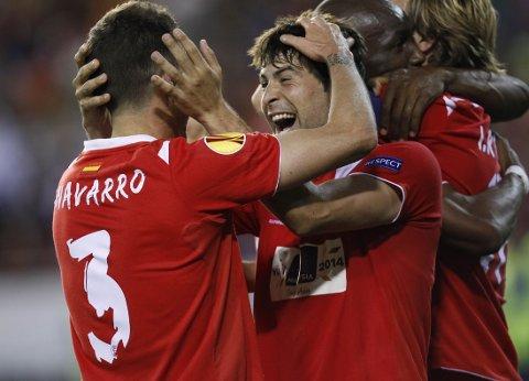 JUBEL: Sevilla kunne til slutt juble for finale i Europa League.