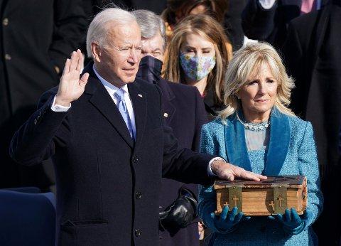 PRESIDENT: Joe Biden ble tatt i ed som USAs neste president på onsdag.