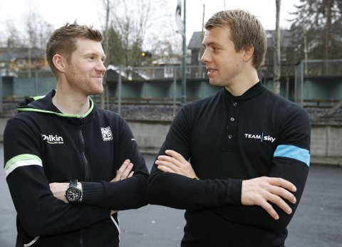 Lars Petter Nordhaug (t.v.) og Edvald Boasson Hagen håper at de møter hverandre i Tour of Norway i 2015. Her like etter presentasjonen av Tour of Norways etapper neste år.