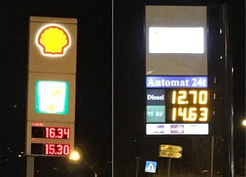Prisforskjell på 1,71 kroner på disse to bensinstasjonene i Bærum mandag kveld. På den dyreste kostet bensinen 16,34 kroner literen.