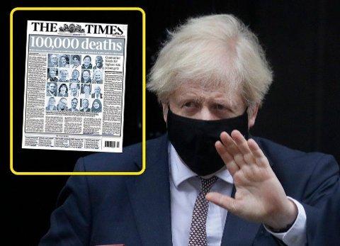 100.000 DØDE: Storbritannias statsminister Boris Johnson blir konfrontert med at landet har passert 100.000 dødsfall som det første i Europa.