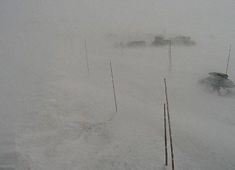 UVÆR: Riksvei 7 ved Dyranut søndag ettermiddag. Nå blir det mer vind og snø, lover meteorologen.