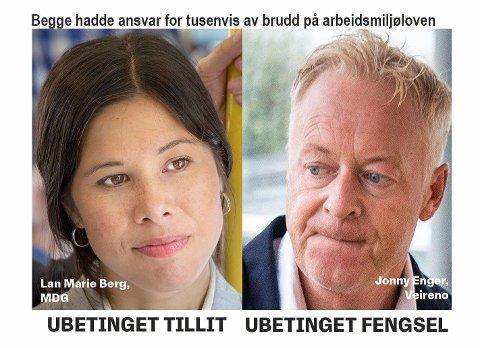 ULIKHET FOR LOVEN: Mens Veirono-sjef Jonny Enger fikk 120 dagers ubetinget fengsel for brudd på arbeidsmiljøloven, blir byråd Lan Marie Berg sittende med full tillit fra de rødgrønne, inkludert Rødt.