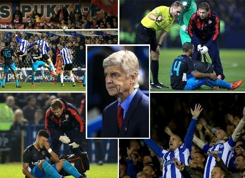 DRAMA: Det var mer enn nok dramatikk i kampen mellom Sheffield Wednesday og Arsenal.
