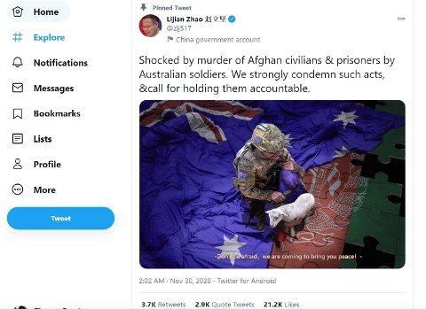 Kinesisk UD har postet et fabrikkert bilde på Twitter som skildrer tilsynelatende en australsk soldat som kutter strupen på et afghansk barn som omfavner et lam.