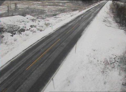 FULL VINTER: Riksvei 40 over Dagali i Buskerud fredag morgen. På den andre siden av fjellovergangen, i Tessungdalen i Telemark, ble det målt 13 centimeter med snø.