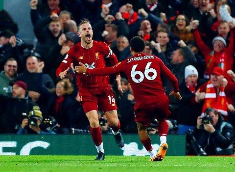FORLØSENDE: Liverpool strevde og strevde med å få ballen forbi Spurs-keeper Paulo Gazzaniga, men Jordan Henderson viste vei da de større stjernene på laget sviktet.