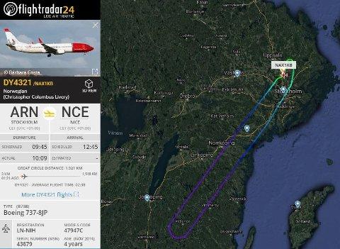 Bombetrusselen mot Norwegian-flyet fra Arlanda til Nice, gjorde at flyet måtte snu.