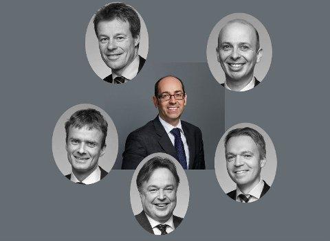 LØNNSTOPPEN: Alle disse tjente minst ti ganger mer enn statsministeren. I midten Thomas Sassan Farhang (Kvale), og rundt fra øverst til venstre med klokken: Einar Kaspersen, Halvor Manshaus, Amund Tørum, Erling Ueland og Dag Sigvard Kaada (alle Schjødt).