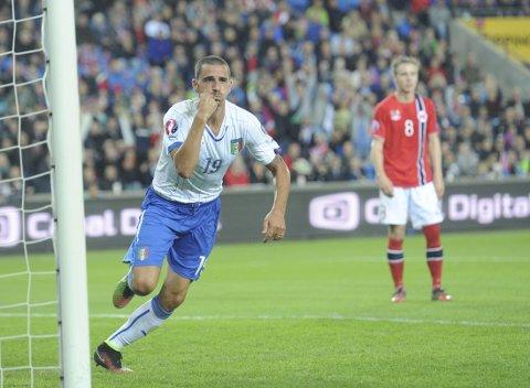 2-0: Leonardo Bonucci jubler, mens Norge fortviler.