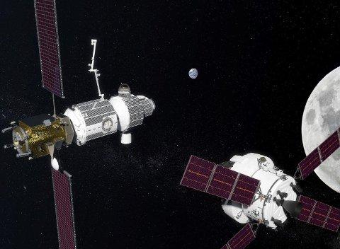 NY ROMSTASJON: Deep Space Gateway er romstasjonen som skal benyttes som mellomstasjon når bemannede ekspedisjoner setter kursen fra jorden og til Mars.