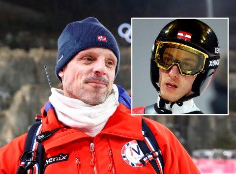 HYLLES: Alexander Stöckl mottar hyllest fra flere hold etter triumfen i lagkonkurransen i OL. Gregor Schlierenzauer er blant dem som skryter av landsmannen.