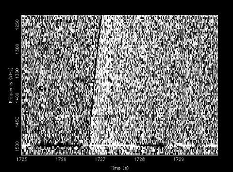 Bildet viser det første registrerte radioglimtet, kjent som Lorimer-glimtet. I over ti år har disse sjeldne radiosignalene forbløffet forskere, som nå kan ha fått en viktig ledetråd til å finne ut hva kilden er.