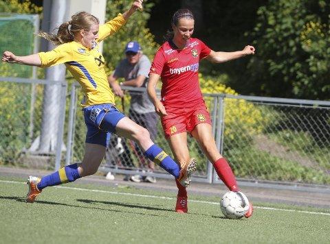 HADDE IKKE DAGEN: Inger Katrine Bjerke og Røa var langt under pari mot Trondheims/Ørn, og tapte 2-1 på hjemmebane for trønderne. FOTO: ARILD JACOBSEN