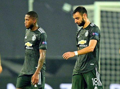 SLUTTSTREK: Manchester Uniteds Fred og Bruno Fernandes er ferdig med sesongen etter sitt tredje semifinaletap for året.