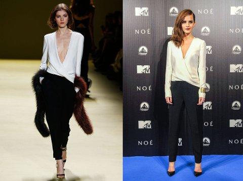 Emma Watson ser nydelig ut i J.Mendels´, sorte og hvite antrekk.