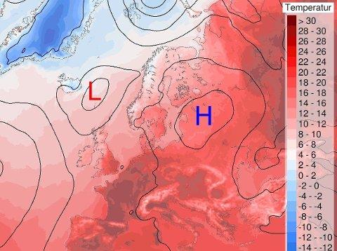 LAVTRYKK OG HØYTRYKK: Prognosene for lørdag spriker og helgeværet blir skiftende, men søndag ser ikke så verst ut, ifølge meteorologen.