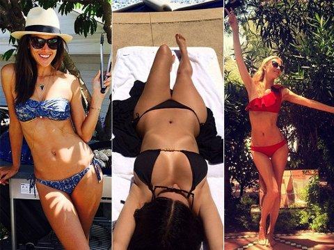 STRANDLIV: Alessandra Ambrosio, Kim Kardashian og Poppy Delevigne vet å kle seg. Også på stranda.