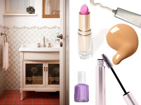 IKKE HER: Disse skjønnhetsproduktetene bør du ikke oppbevare på badet.