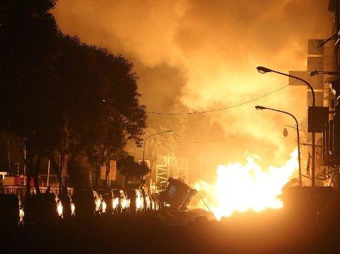 FLERE EKSPLOSJONER: Flere eksplosjoner i byen Kaohsiung sør i Taiwan torsdag kveld.