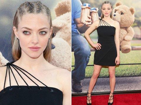 FLETTEFRISYRE: Amanda Seyfried stilte med en trendy flettefrisyre for premieren av filmen Ted 2.